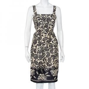 Max Mara Pure Seta Cream & Black Floral printed Silk Sleeveless Sheath Dress M - used