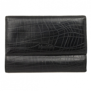 Max Mara Crocodile Print Leather Flap Wallet