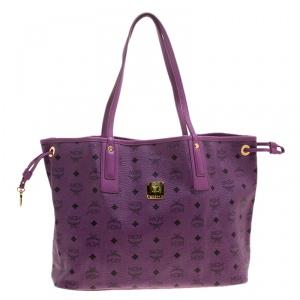 MCM Purple Visetos Leather Project Reversible Shopper Tote