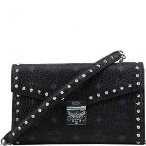 MCM Black Visetos Coated Canvas Studded Large Patricia Continental WOC Clutch Bag