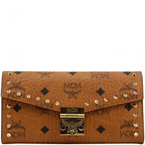 MCM Cognac Visetos Coated Canvas Studded Large WOC Clutch Bag
