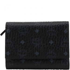 MCM Black Visetos Coated Canvas Small Three Fold Wallet