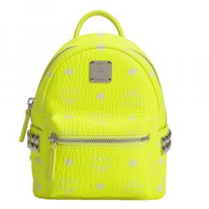 MCM Neon Yellow Coated Canvas Stark 20 Backpack