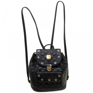 MCM Black Quilted Leather Stark Backpack