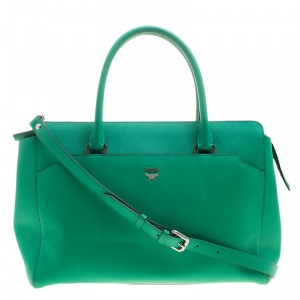 MCM Green Leather Convertible Tote