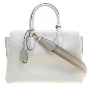 MCM White Leather Medium Milla Satchel