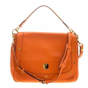 MCM Orange Leather Shoulder Bag
