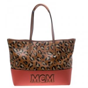 MCM Multicolor Animal Print Leather Shopper Tote