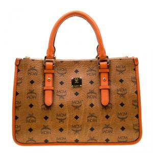 MCM Cognac/Orange Coated Canvas and Leather Double Zip Top Handle Bag
