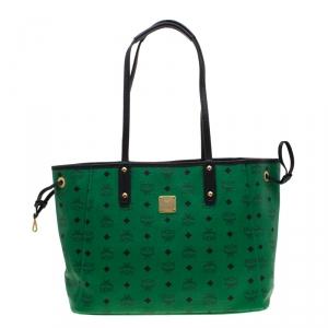 MCM Green/Black Visetos Leather Shopper Project Reversible Tote