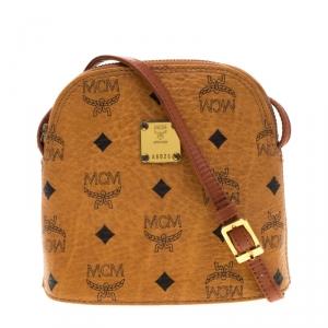 MCM Cognac Visetos Leather Zip Crossbody Bag
