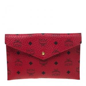MCM Red Visetos Leather Envelope Clutch