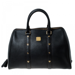MCM Black Leather Bowler Bag
