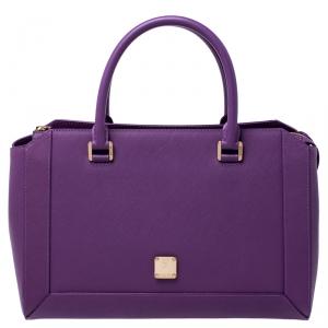 MCM Purple Textured Leather Tote