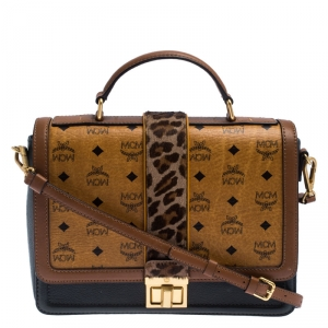 MCM Brown Visetos Cognac Coated Canvas and Leather Top Handle Bag