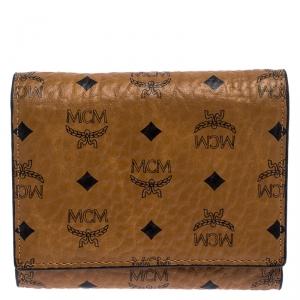 MCM Cognac Visetos Coated Canvas Tri Fold Compact Wallet
