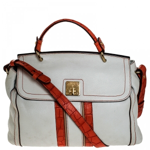 MCM White/Orange Leather and Croc Embossed Leather Top Handle Bag