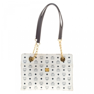 MCM White/Black Visetos Coated Canvas Chain Tote