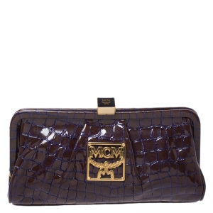MCM Brown/Purple Croc Effect Patent Leather Frame Clutch