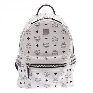 MCM White Visetos Coated Canvas Stark Studs Backpack