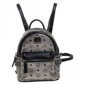 MCM Silver Visetos Coated Canvas Mini Studs Stark Backpack
