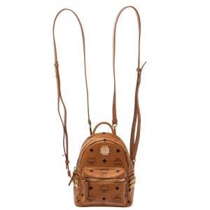 MCM Brown Visetos Coated Canvas X-Mini Bebe Boo Backpack