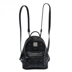 MCM Black Visetos Coated Canvas X-Mini Bebe Boo Backpack