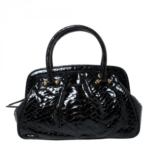 MCM Black Croc Embossed Leather Satchel