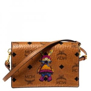 MCM Cognac Visetos Coated Canvas Mini Rabbit Shoulder Bag