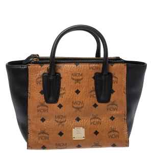 MCM Tan/Black Coated Canvas and Leather Tote