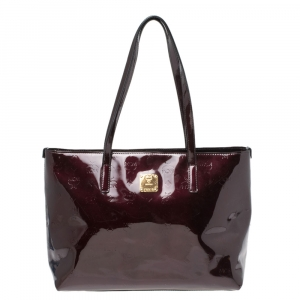 MCM Burgundy Patent Leather Shopper Tote