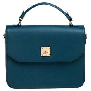 MCM Teal Blue Leather Flap Leather Top Handle Bag