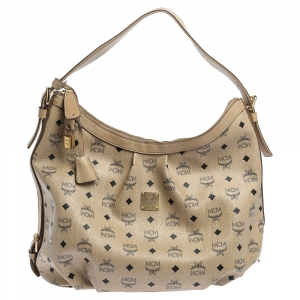 MCM Beige Visetos Coated Canvas and Leather Essential Hobo