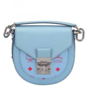 MCM Blue Leather Visetos Patricia Mini Crossbody Bag