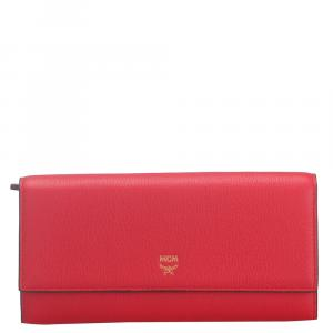 MCM Red Leather Flap Wallet