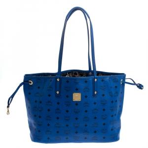 MCM Blue Visetos Leather Project Reversible Shopper Tote