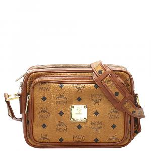 MCM Brown Leather Visetos Crossbody bag