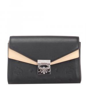 MCM Black Leather Small  Chain Wallet
