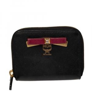 MCM Black Leather Mina Small Zip Around Wallet