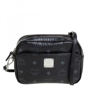 MCM Black Visetos Coated Canvas Double Zip Camera Crossbody Bag