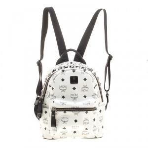 MCM White Leather Mini Studded Backpack