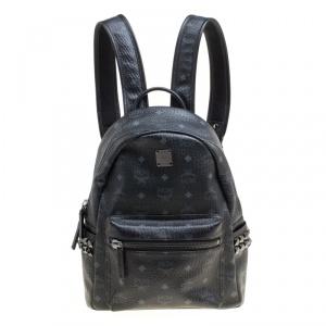 MCM Black Visetos Leather Small Stark Backpack