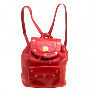 MCM Red Leather Vintage Backpack