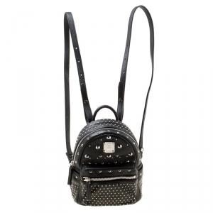 MCM Black Leather X Mini  Studded Strak-Bebe Boo Backpack