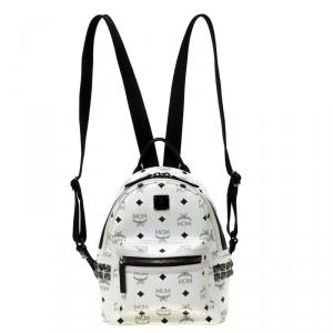 MCM White/Black Signature Leather Stark Side Studs Bebe Boo Backpack