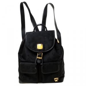 MCM Black Nylon and Leather Drawstring Backpack