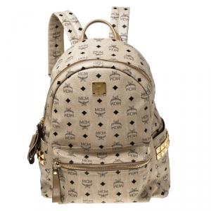 MCM Beige Visetos Coated Canvas Stark Side Studs Backpack