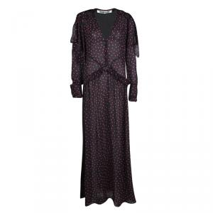 McQ by Alexander McQueen Black Polka Dotted Long Sleeve Maxi Dress S