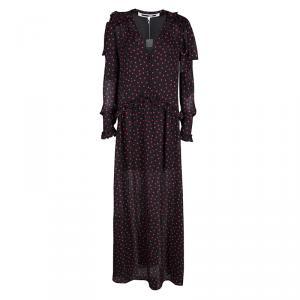 Alexander McQueen Black Polka Dot Ruffle Detail Maxi Dress S