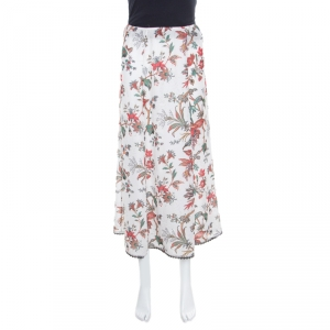 McQ by Alexander McQueen Parchment White Floral Printed Lace Trimmed Midi Skirt S